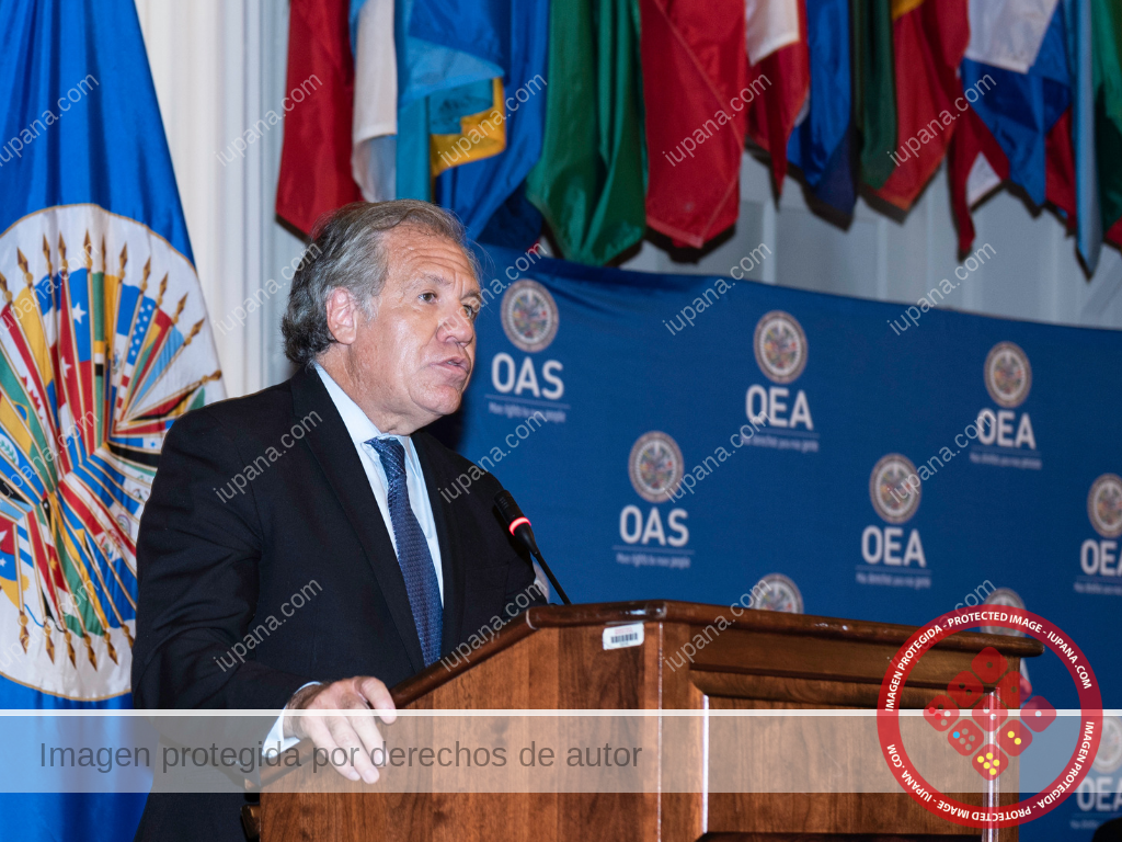 Luis Almagro, OAS, discussing LatAm bank cybersecurity