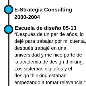 """E-Strategia Consulting 2000-2004 Escuela de diseño 2005-2013 """"Después de un par de años, lo dejé para trabajar por mi cuenta, después trabajé en una universidad y me hice parte de la academia de design thinking. Los sistemas digitales y el design thinking estaban empezando a tomar relevancia."""""""